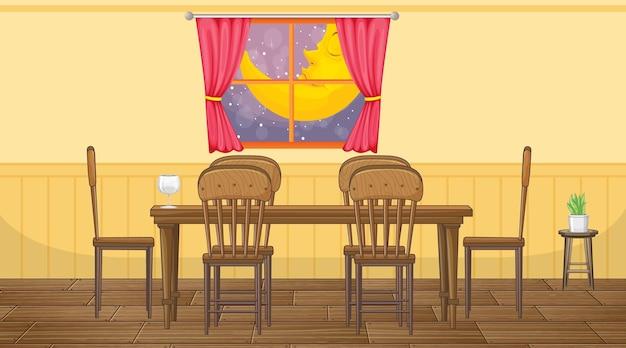 Design de interiores de sala de jantar com móveis