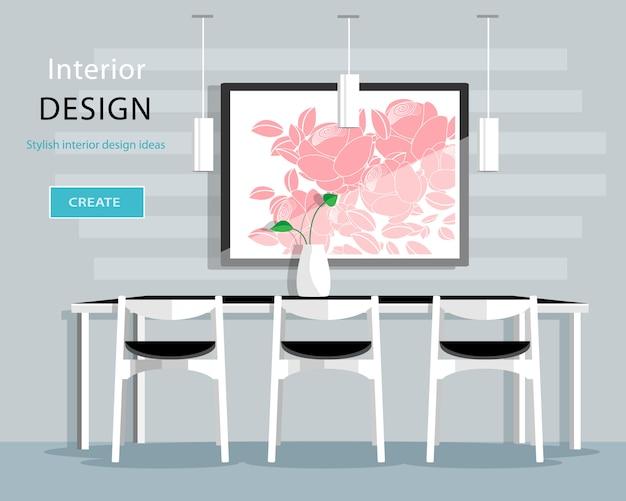 Design de interiores de sala de jantar moderna com mesa, cadeiras, vaso, quadro, lâmpadas. ilustração de estilo simples