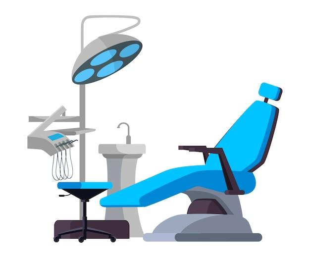 Design de interiores do conceito de consultório odontológico, poltrona para paciente