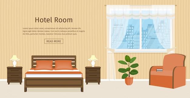 Design de interiores do quarto com cama, mesas de cabeceira, poltrona e lugar para texto na parede.