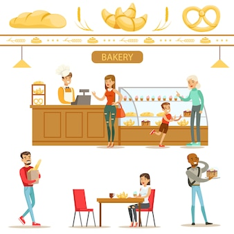 Design de interiores e clientes felizes de uma padaria conjunto ilustrações