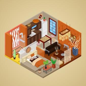 Design de interiores em estilo africano com sala de estar e cozinha