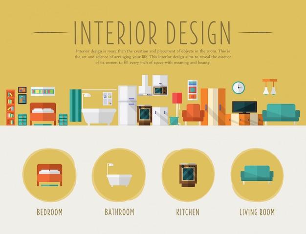 Design de interiores. ilustração plana.