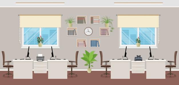 Design de interiores openspace com quatro locais de trabalho. conceito interior de escritório, incluindo mobiliário de escritório e janelas.