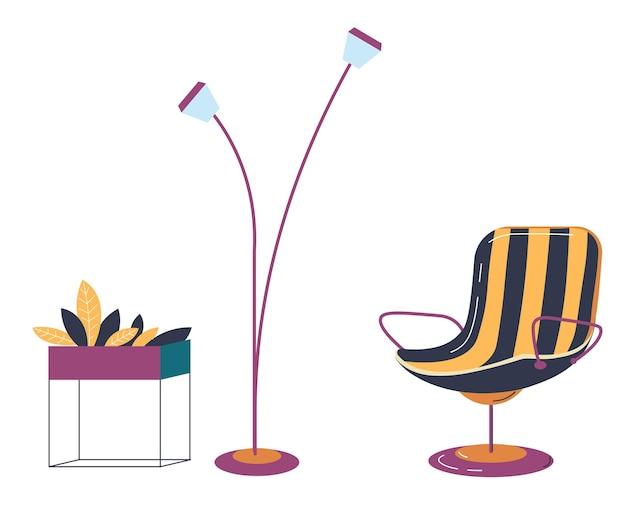 Design de interiores para casa de sala de estar, quarto ou sala de escritório. poltrona moderna isolada e lâmpada de assoalho longa contemporânea. suporte com flores no vaso, planta decorativa da casa, vetor em estilo simples