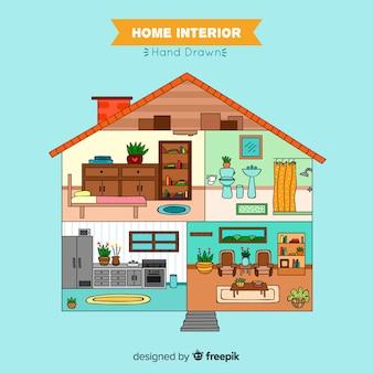 Design de interiores para casa linda mão desenhada