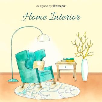 Design de interiores para casa moderna em aquarela