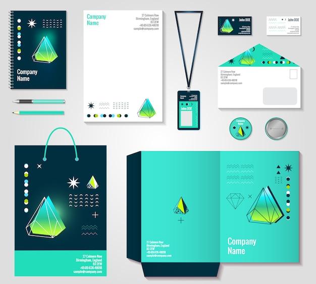 Design de itens de identidade corporativa de cristais poligonal