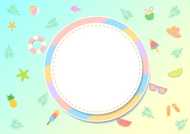 Design de itens de verão em cor pastel e moldura