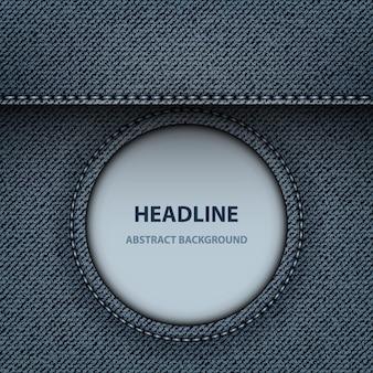 Design de jeans azul com moldura redonda e listra acima.