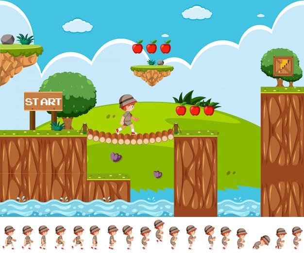 Design de jogo com o menino safári