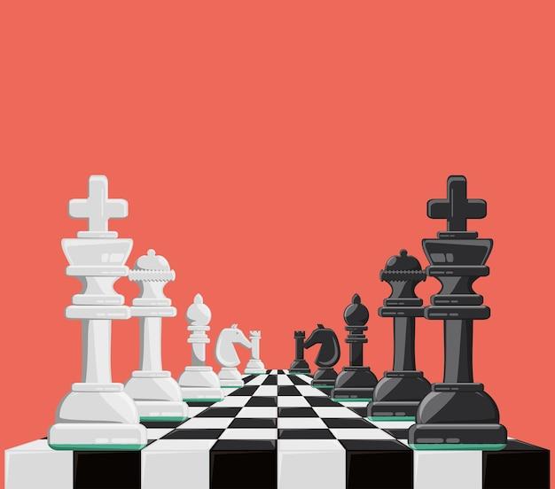 Design de jogo de xadrez com tabuleiro de xadrez e peças