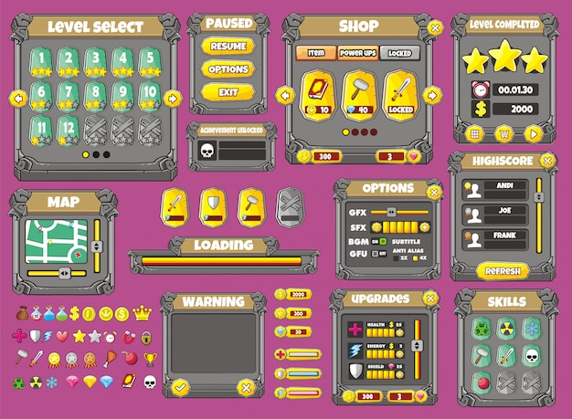 Design de jogos de interface. todas as telas que você precisa para o seu jogo