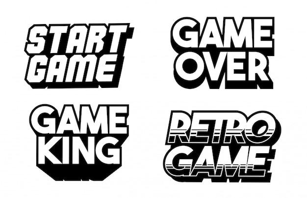 Design de jogos de letras conjunto coleção de frases de jogos retrô clássicos. ilustração de texto. inscrições clássicas.
