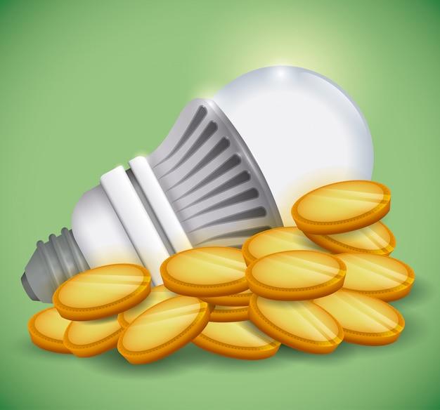 Design de lâmpada, ilustração vetorial.