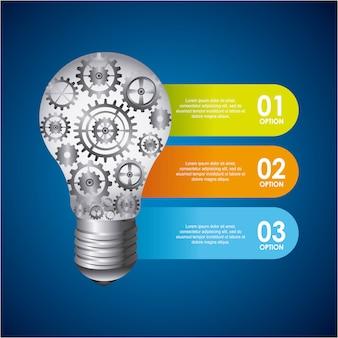 Design de lâmpada sobre ilustração vetorial de fundo azul