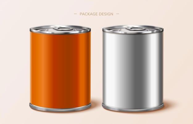 Design de lata de embalagem de comida em laranja e prata, ilustração 3d