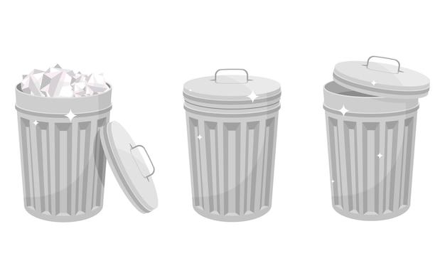 Design de lata de lixo metálico isolado no fundo branco