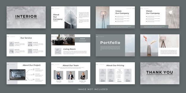 Design de layout de apresentação mínima interior com infográfico
