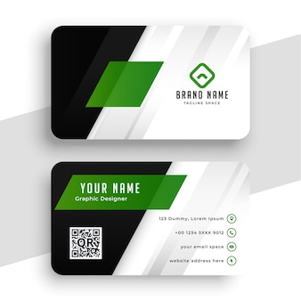 Design de layout de cartão de visita verde elegante