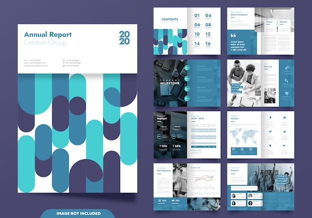 Design de layout de modelo com página de capa para o perfil da empresa e brochuras