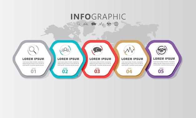 Design de layout gráfico de informação com informações passo