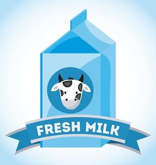 Design de leite sobre fundo azul