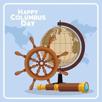 Design de leme de navio e feliz dia de colombo