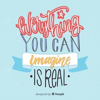 Design de letras com citação de criatividade