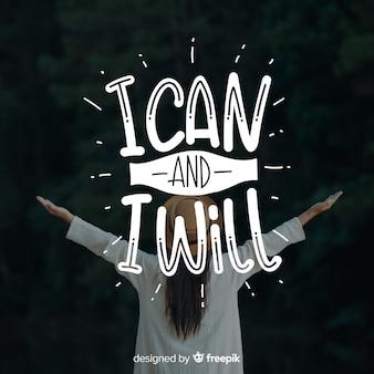 Design de letras com citação motivacional e imagem