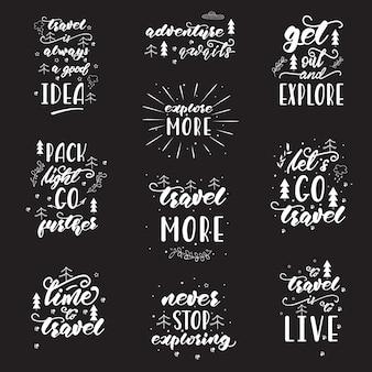 Design de letras com frases de viagem