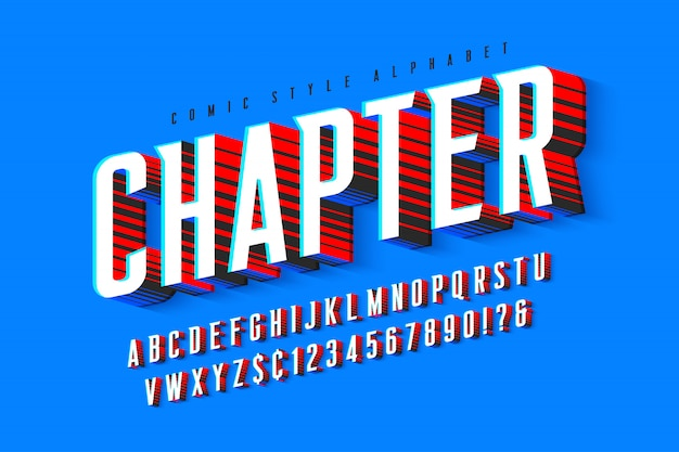 Design de letras cômicas na moda, alfabeto colorido