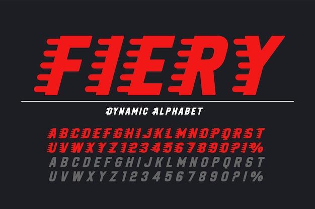 Design de letras de exibição de corrida, alfabeto dinâmico, números. personagens de vetor. inclinação de 15 graus