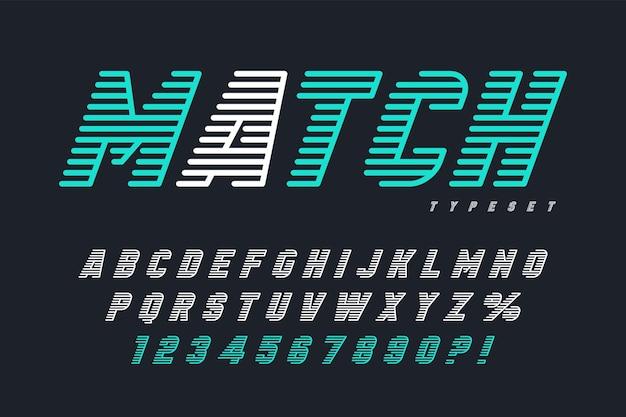 Design de letras de exibição dinâmica, alfabeto, conjunto de números.