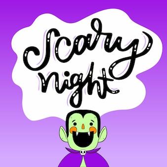 Design de letras de noite assustadora