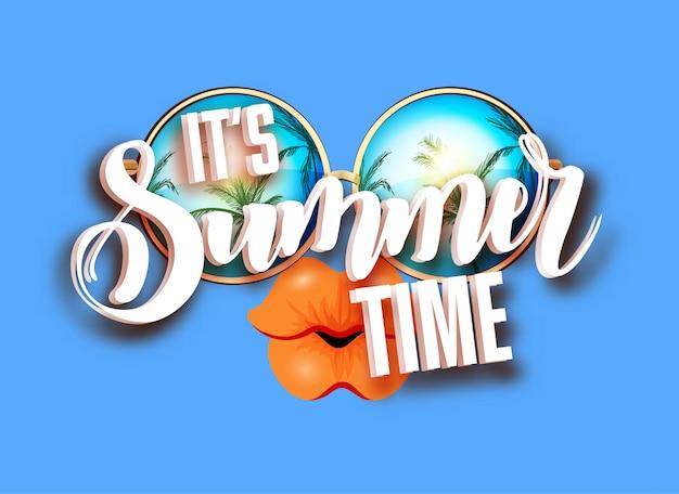 Design de letras de verão com óculos de sol