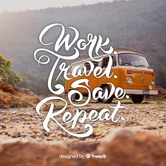 Design de letras de viagem com foto