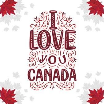 Design de letras do dia do canadá, eu te amo canadá