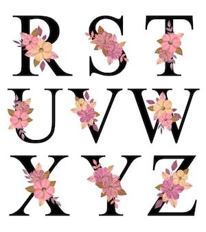 Design de letras maiúsculas do alfabeto r - z com buquê de flores cor de rosa desenhadas à mão