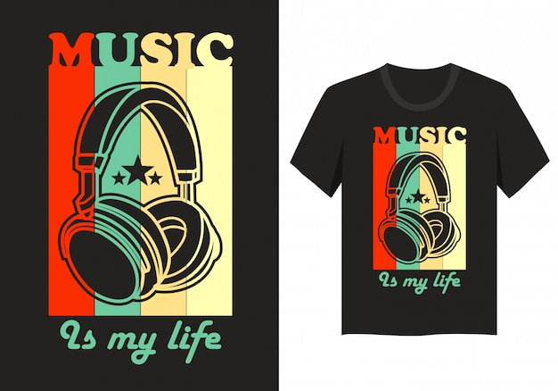 Design de letras para t-shirt: music is my life