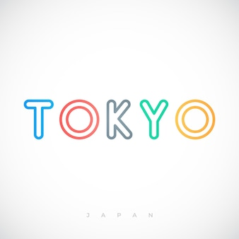 Design de letras tipográficas da cidade capital de tóquio