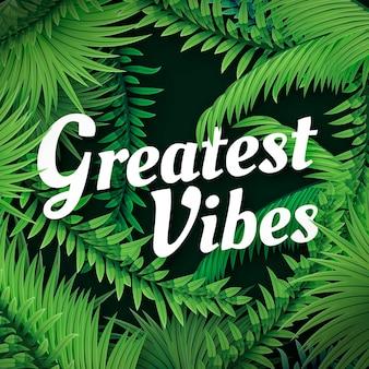 Design de letras tropicais com folhas