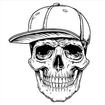 Design de linha de boné de tatuagem de caveira impressão