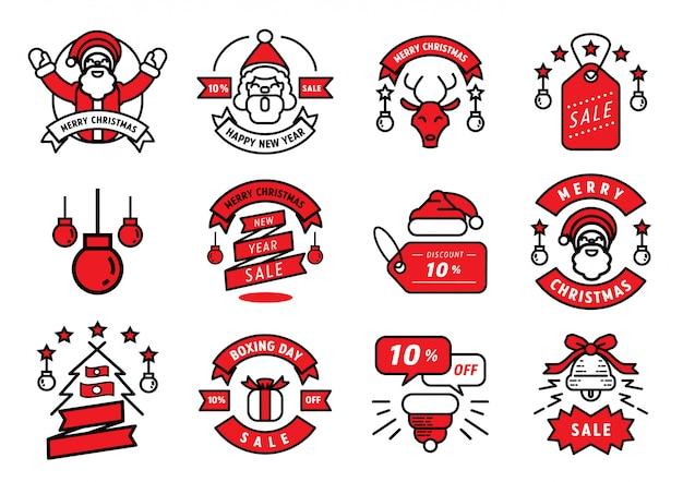 Design de linha de distintivo de natal feliz e elemento