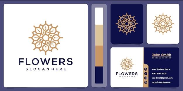 Design de linha de flores de luxo com modelo de cartão de visita