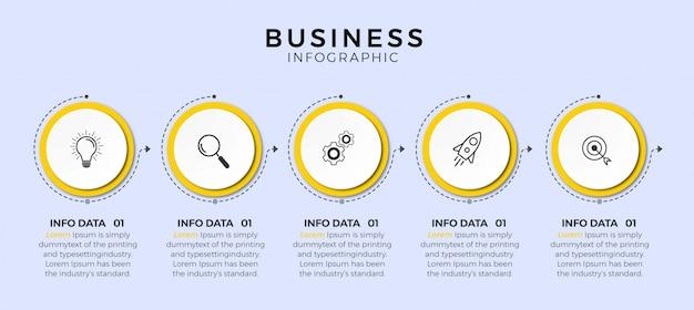 Design de linha fina infográfico com ícones e 5 opções ou etapas.