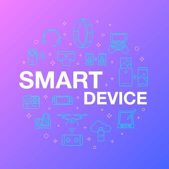 Design de linha plana de ícones de dispositivo inteligente.
