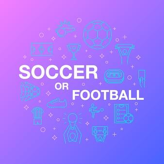 Design de linha plana de ícones de futebol ou futebol.