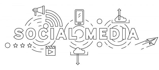 Design de linha plana de mídia social
