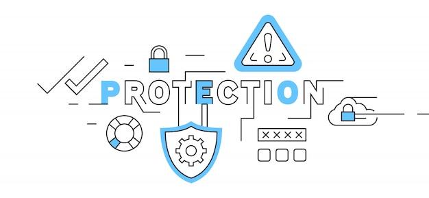 Design de linha plana de proteção em azul